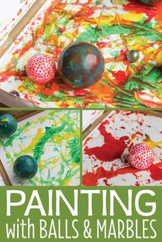 Art for preschoolers is combined with science when you paint with marbles and balls. Kids will have a blast creating and experimenting as they paint. These are great process art ideas for preschool and pre-k. A great addition to your creative curriculum