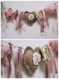 Heart Garland for Valentine's Day Decor Kids Crafts, Diy And Crafts, Craft Projects, Sewing Projects, Burlap Crafts, Fabric Crafts, Sewing Crafts, Rag Garland, Heart Garland