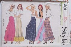 Vintage Style sewing pattern 4011 waist 25 complete 70s skirt