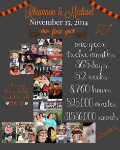 24x30 With 74 Photos One Year Anniversary Number Collage