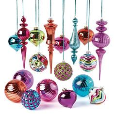 ornament collectiongreat ideas for color - Jewel Colored Christmas Decorations