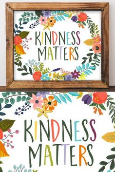 Yes it does!! Kindness Matters - Wall Decor, Printable Wall Art, Kindness Matters, floral office decor, Printable Art, Printable quotes, Playroom sign, Dorm decor, DIY home decor, Printable signs, Gracie Lou Printables