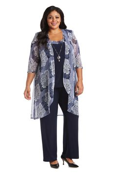 R&M Richards Plus Size Duster Pant Set 7258W   The Dress Outlet Mother Of The Bride Plus Size, Mother Of Groom Dresses, Mothers Dresses, Bride Dresses, Mesh Jacket, Pantsuits For Women, Special Occasion Outfits, Pageant Dresses, Navy And White