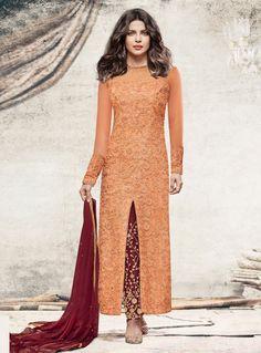Priyanka Chopra Orange Net Pant Style Suit 108472