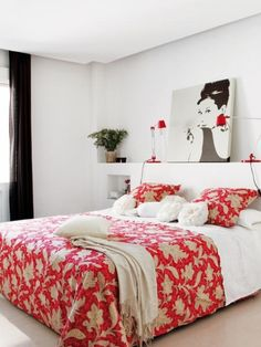 Amazing Red Accents In Bedrooms – 34 Stylish Ideas : Red Accents In Bedrooms 34 Stylish Ideas With White Wall Bed And Red Pillow Blanket And Black Window Curtain And Wallpaper And Hardwood Flooring