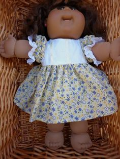 Pretty yellow floral dress with white yoke for Cabbage Patch, Baby Born or any 18 inch doll with chest measurement 13 to 14 inches. by Marionsknittedtoys on Etsy