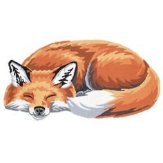 SLEEPING FOX HAND-HOOKED RUG at What on Earth  Item #: CN2616 Price: $29.95