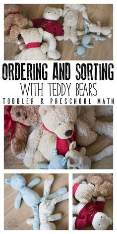 Bear themed math activity for toddlers and preschoolers inspired by Bear Snores on by Karma Wilson and ideal for a hibernation, winter or bear themed week. Ordering and sorting bears from the soft toy collection. Math Activities For Toddlers, Eyfs Activities, Math For Kids, Infant Activities, Toddler Play, Toddler Preschool, Bears Preschool, Preschool Math, Teaching Kindergarten