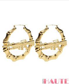 ffe3fa267061 Melody Ehsani x Jeremy Scott m.e. x j.s. m16 bamboo earrings Gold Plated  Earrings