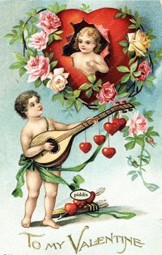 Super-cute vintage Victorian-era Valentine with cherubs, musical instrument, roses and hearts. One of more than 100 #vintage victorian-era #valentines available from piddix for licensing. PDXC8395 -- Valentine's Day