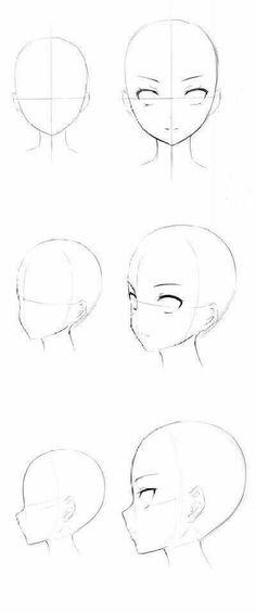 Manga Drawing Tips Head base 1000000000000000000000000000000000000000000 Anime Drawings Sketches, Pencil Art Drawings, Anime Sketch, Cool Drawings, Pencil Sketching, Eye Drawings, Realistic Drawings, Drawing Heads, Drawing Faces