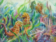 Seahorses Three Painting