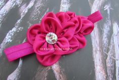 Flower Headband, Baby Girl Headband, Magenta Flower, Lchthyosis Shape, Photo Shoot Prop by OurKraftyCreations on Etsy