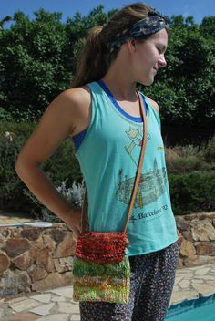 tie-dyed, upcycled t-shirt yarn purse