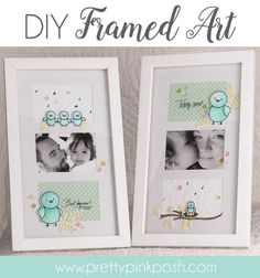 Pretty Pink Posh | DIY Framed Art Tutorial using Birdie Friends & Birdie Notes - So cute! Great way to maximize your stamps.