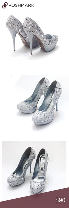 Bling Silver Bejeweled / Rhinestone Platform Heels Host Pick  Gorgeous Round Toe Pumps! Fashion Platform Heels! • worn once on carpet for a photo shoot, couple watermarks not really noticeable • For girls night out, bachelorette, wedding, bride, bridesmaid, formal event, date, evening parties, pageant, graduation, Sweet Sixteen, Quinceañera, Christmas Holiday, Church, New Yea! • Smoke & cat free home • Have shimmering sparkly faux rhinestone jewels, & satin upper. Have approx. 2.5 platform…
