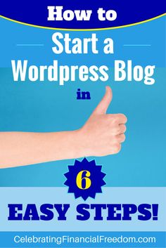 Starting your own Wordpress blog is easy. All it takes is 6 simple steps! You…