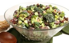 4 c. Broccoli, chopped   1 c. Raisins (or sliced grapes)   1 c. Sunflower Seeds   1 sm. Red Onion, diced   1 c. Bacon pieces (or 1 lb cooked & crumbled)  Dressing:   1 c. Hellman's Mayonnaise   ½ c. Splenda Sweetner or Sugar   1 ½ tbsp Vinegar  mix and refrigerate 4 hours