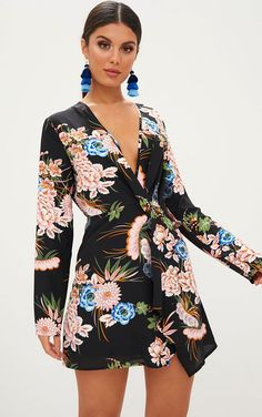 e60da64f57c Black Floral Long Sleeve Wrap Dress