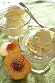 Peach Custard Ice Cream - Ice Cream and Nice Cream Recipes - Ice Cream Treats, Ice Cream Desserts, Frozen Desserts, Ice Cream Recipes, Frozen Treats, Custard Ice Cream Recipe, Frozen Custard Recipes, Yummy Ice Cream, Love Ice Cream