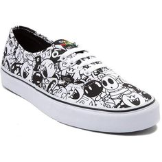 Nintendo and Vans Authentic Super Mario Villains Skate Shoe ($99) ❤ liked on Polyvore featuring shoes, sneakers, white and black shoes, black white shoes, laced up shoes, lacing sneakers and black and white sneakers
