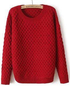 Wine Red Long Sleeve Diamond Patterned Sweater - Sheinside.com