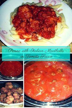 Penne with Italian Meatballs #pastadish #pasta #italianfood