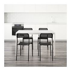 MELLTORP / ADDE Mesa e 4 cadeiras, branco, preto - IKEA
