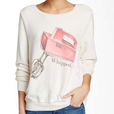 ✨HP 05/20🎉Wildfox 'Whipped' Long sleeve pullover WildFox 'Whipped' long sleeve pullover can get anyone just whipped with it! Totally chic and adorable. Extremely comfy basic BBJ. Color: Vintage Lace. Crew neck. Soft and loose fit. Wildfox Tops Sweatshirts & Hoodies