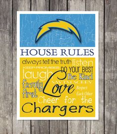 SAN DIEGO CHARGERS House Rules Art Print by fanzoneimprintz, $13.00