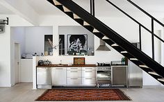 kitchen under stairs Modern Interior Design, Interior Architecture, Kitchen Under Stairs, Kitchen Design, Kitchen Decor, Warehouse Living, Interior Photography, Loft Style, Kitchen Styling