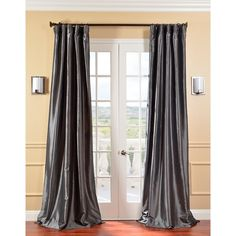 Solid Faux Silk Taffeta Graphite Curtain Panel - Overstock™ Shopping - Great Deals on EFF Curtains