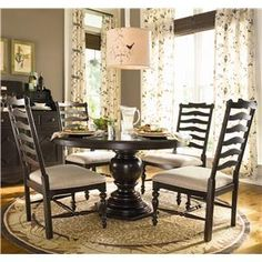 Home Round Dining Table w/ 4 Ladder Back Side Chairs by Universal at Baer's Furniture