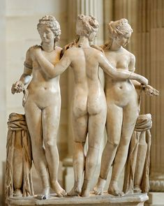 Three Graces (Charites), Roman statue (marble) copy of Hellenistic original, 2nd century AD, (Musée du Louvre, Paris).
