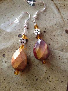 Mookaite Jasper and flower silver beads earrings