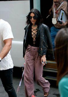 top, pants, all black everything, crop tops, vanessa hudgens