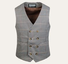 Stylish V-Neck Houndstooth Design Double Breasted Sleeveless Polyester Waistcoat For Men
