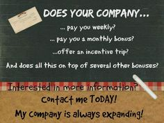 DOES YOUR COMPANY.....  If they don't but you would love to work for a company that does contact me for more information at JennJams2014@gmail.com
