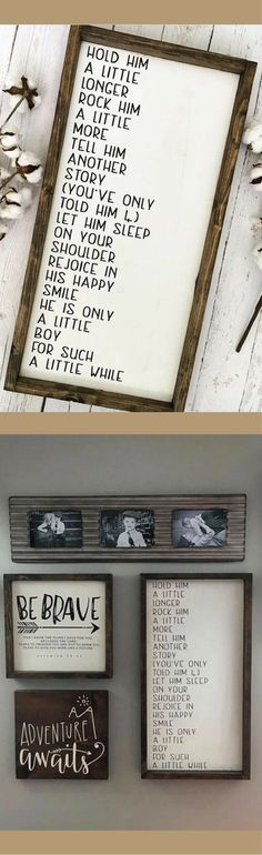 """Hold Him a Little Longer"" Framed Wood Sign, rustic nursery wall decor, farmhouse decor, rustic sign, gift idea, baby boy nursery decor, home decor #ad"