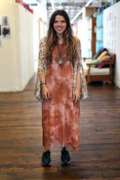 girl wearing orange vintage dress