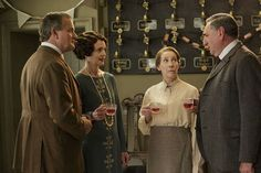Season 6, Episode 4 – From left: Hugh Bonneville as Lord Grantham, Elizabeth McGovern as Lady Grantham, Phyllis Logan as Mrs. Hughes (now Mrs. Carson), and Jim Carter as Mr. Carson.