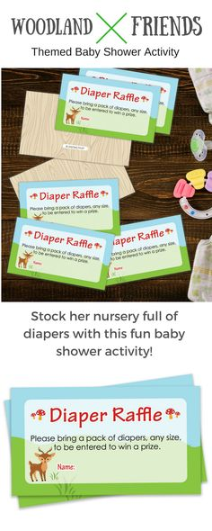 TheseWoodland AnimalsThemedDiaper Raffle Cards are perfect tosend with invitationsfor yourOutdoor Baby Shower, Boy Baby Shower, or Gender Neutral Baby Shower. #woodlanddisperraffle #babyshowergame #woodlandbabyshower #woodlandanimals
