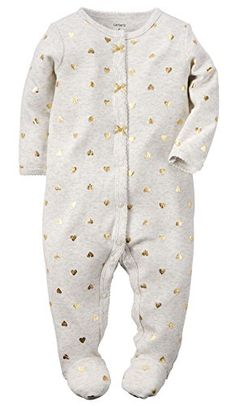 097aa002 Carter's Girls Ivory Allover Gold Heart Print Button Down Footie with Bow  Detail - Carters - Babies