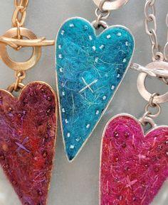 needle felted heart pendants - Google Search