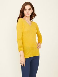 100% Cashmere V Neck Solid Sweater-Cashmere 1873.COM
