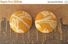 20% OFF SALE Fabric Covered Button Earrings / by ManhattanHippy