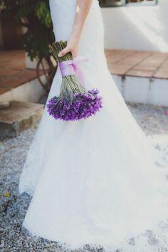 Lavender wedding bouquet | SouthBound Bride | http://www.southboundbride.com/navy-lavender-grande-provence-wedding-by-fiona-clair | Credit: Fiona Clair