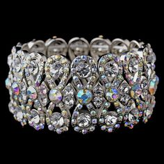 Glitzy Antique Silver Bowtie Stretch Bracelet w/ Clear & Aurora Borealis Crystals 8699