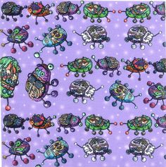 """BEETLES MANIA LAVENDER BLUE by PAYSMAGE Swatch 20x20 cm (8""""x8""""). Printed on 130g cotton. http://www.printmepretty.co.uk/686/BEETLES-MANIA-LAVENDER-BLUE-by-PAYSMAGE"""