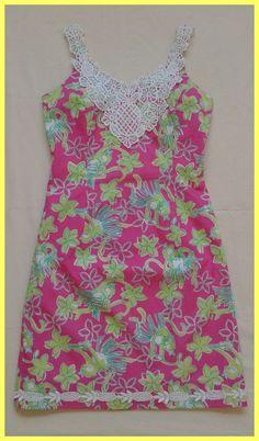 LILLY PULITZER PINK GREEN COTTON ROCK A HULA MONKEY FLORAL SUNDRESS DRESS 0 XS #LillyPulitzer #Sundress #Casual
